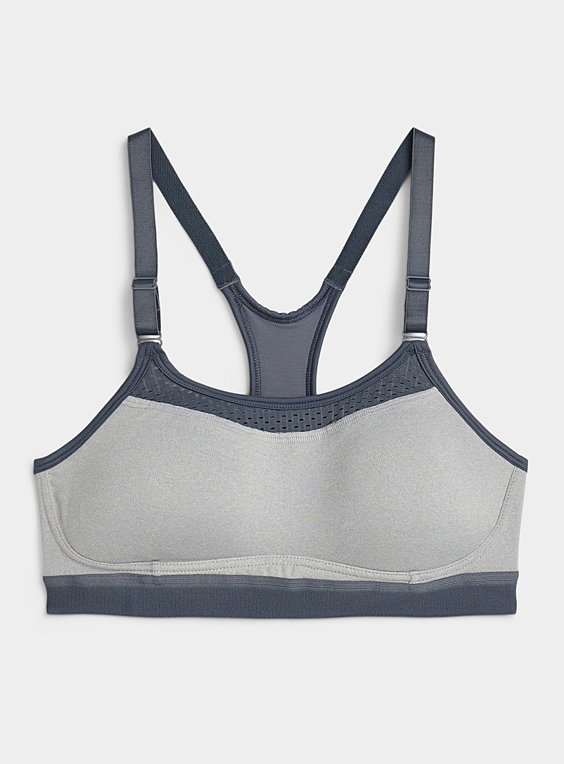 Champion Grey Micro-perforated straight collar sports bra for women