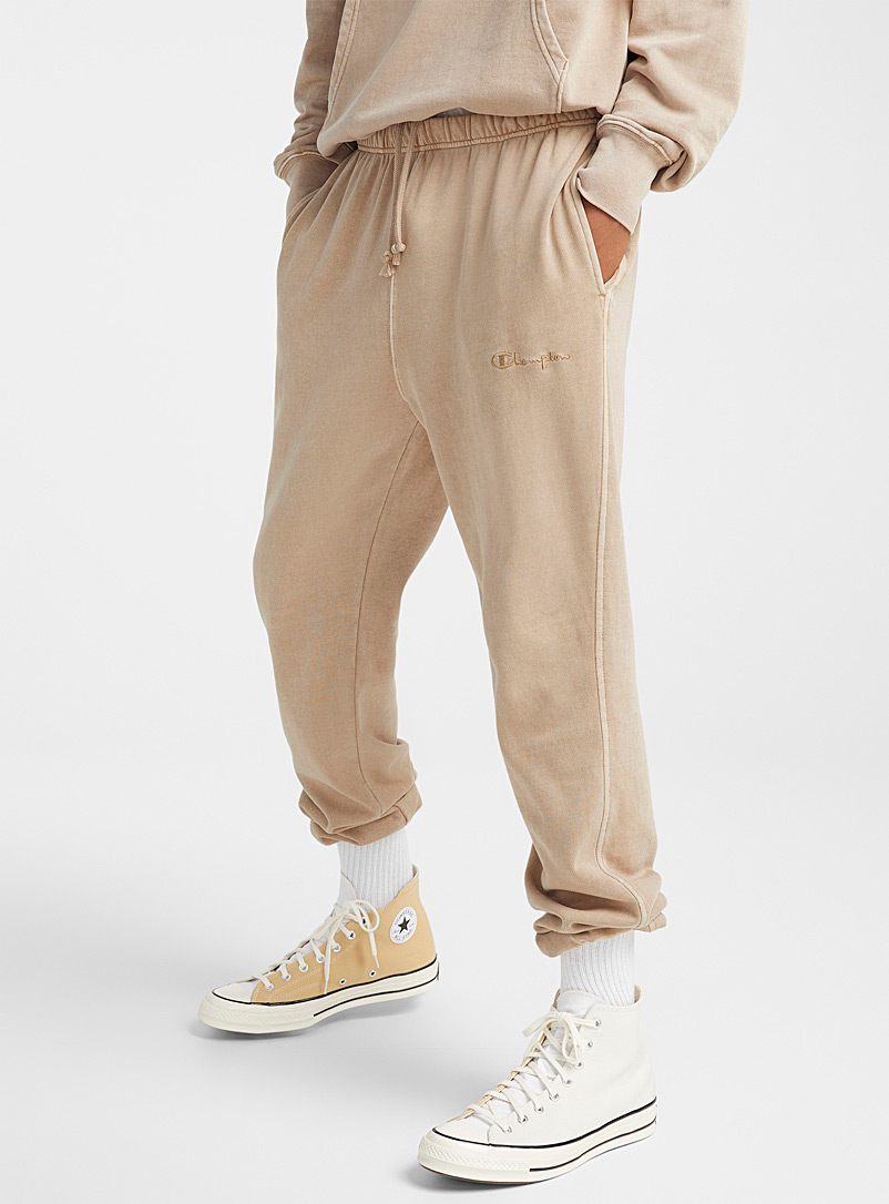 Champion Brown Faded light cotton fleece joggers for men