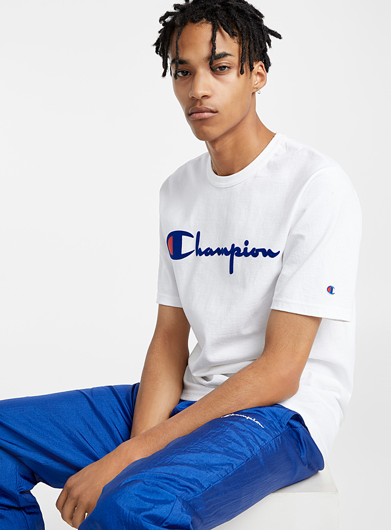 Champion White Velvet essential logo T-shirt for men