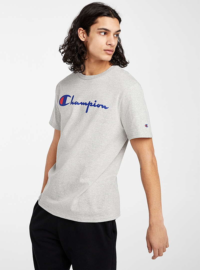 Champion Grey Cursive logo T-shirt for men