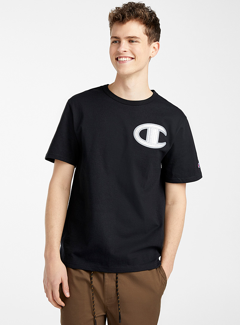 Champion Black Embroidered logo T-shirt for men