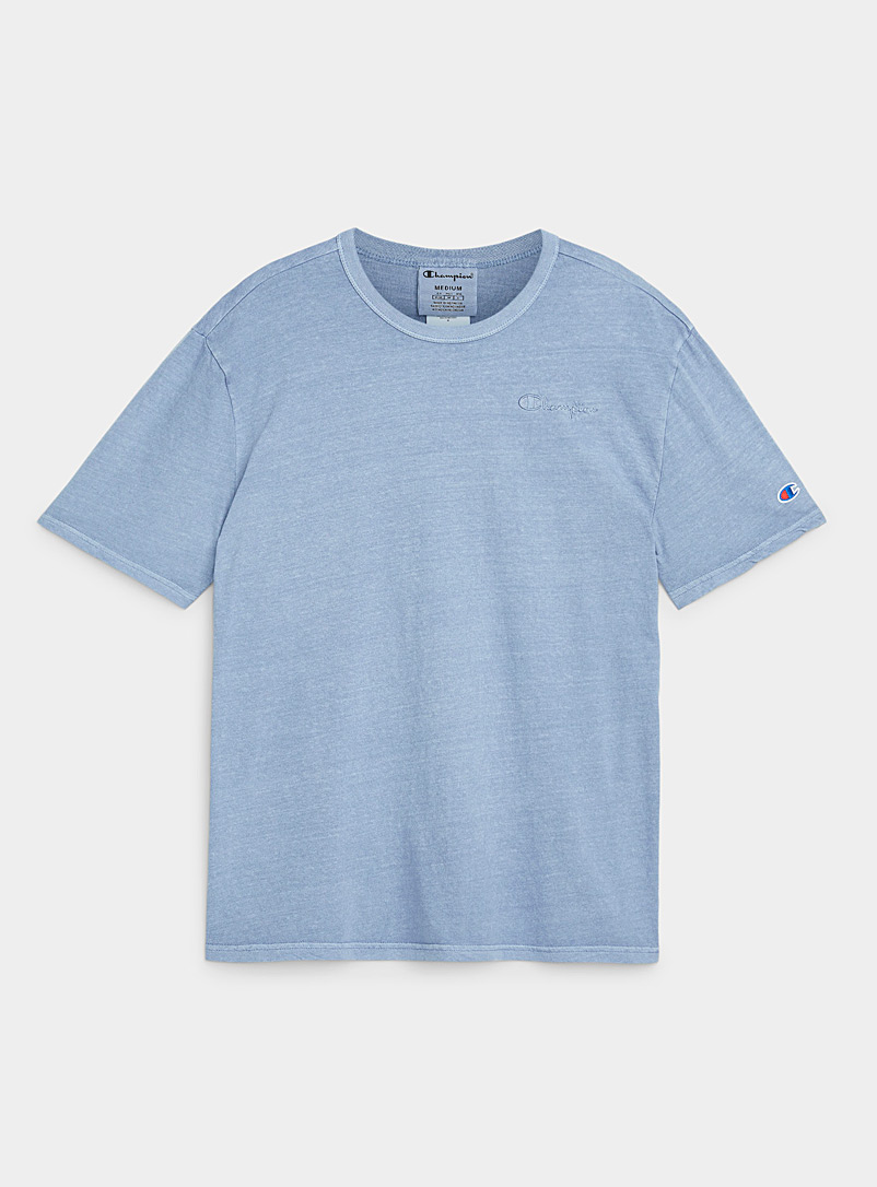 Champion Baby Blue Embroidered logo faded T-shirt for men