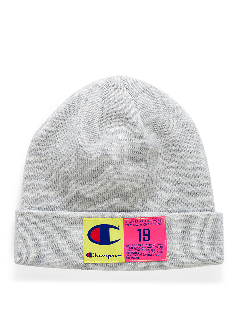 Champion Light grey Neon label tuque for women