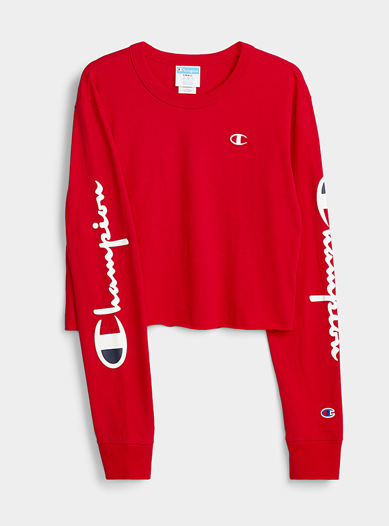 Champion Red Logo-sleeve cropped tee for women