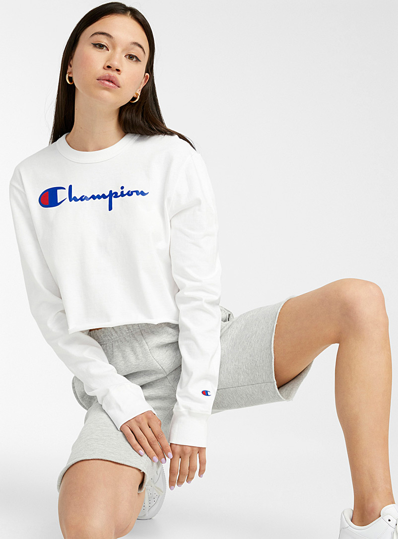 Champion Blue Cropped logo tee for women