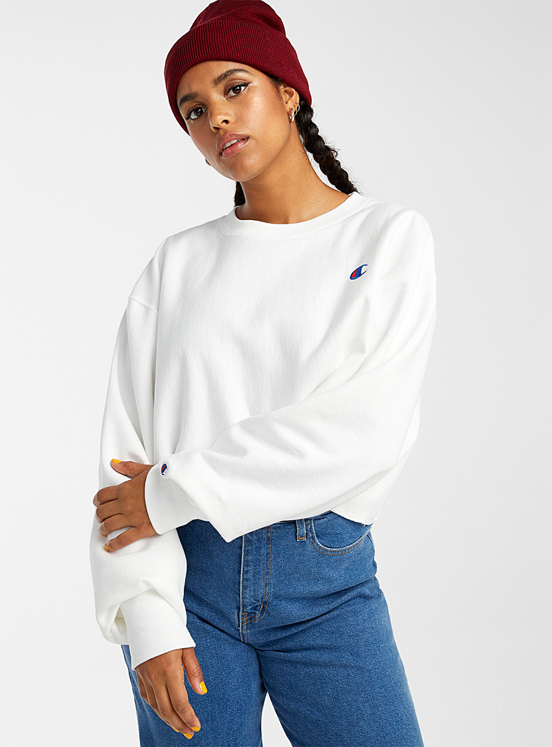 Champion White Ultra cropped scissor-cut sweatshirt for women