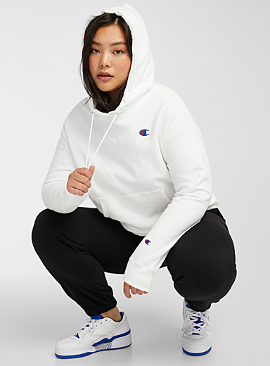 Champion White Embroidered logo hoodie for women
