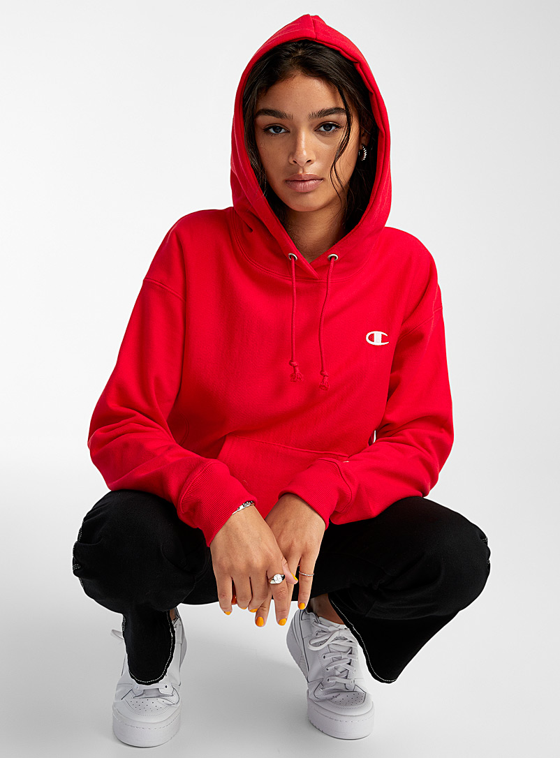 Champion Black Embroidered logo hoodie for women