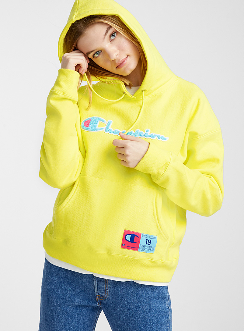 Champion Golden Yellow Terry logo neon hoodie for women