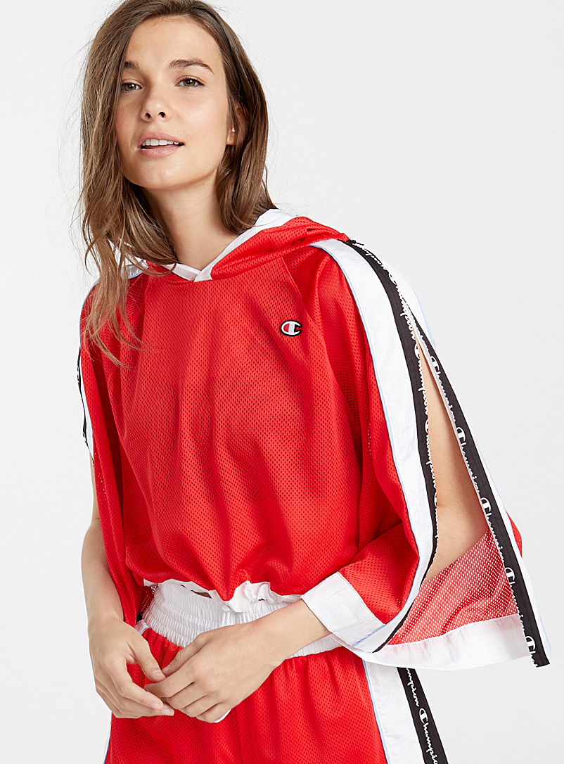 Sporty snap-button blouse - Blouses - Red