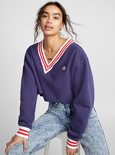 Cropped red stripe sweatshirt