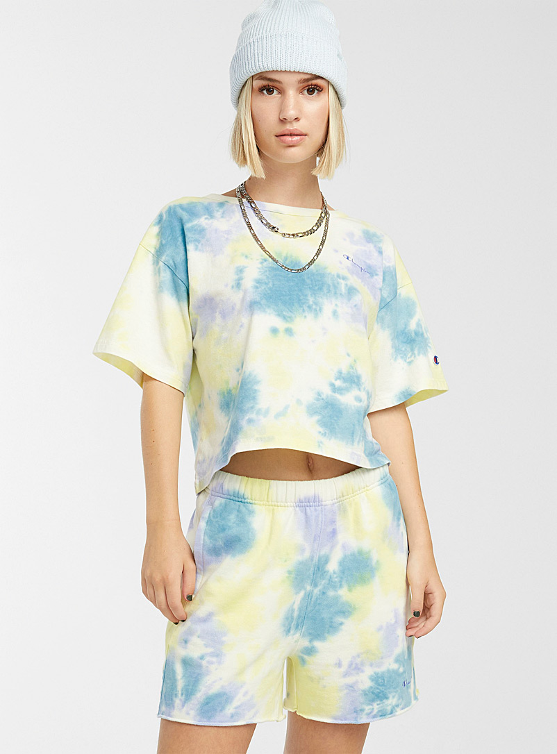 Champion Patterned Blue Sunny tie-dye cropped tee for women