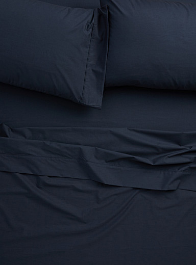 Blue percale plus sheet, 200 thread count  Fits mattresses up to 15 in.