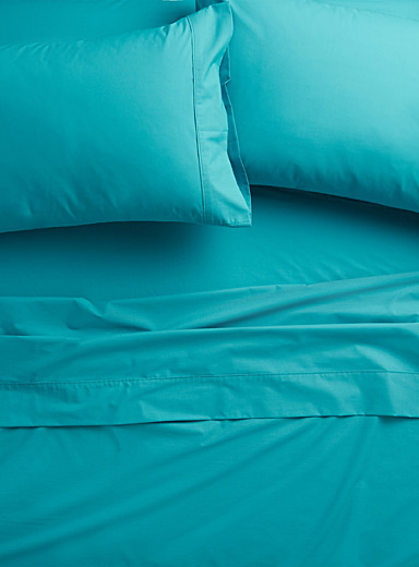 Blue percale plus sheet, 200 thread count <br>Fits mattresses up to 15 in.