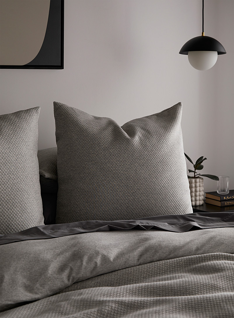 Simons Maison Light Grey Piqué jersey cushion  66 x 66 cm