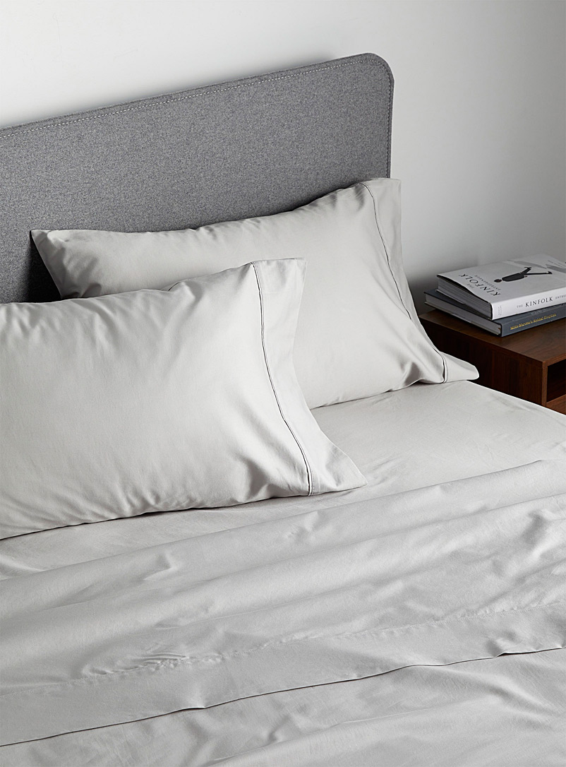Simons Maison Light Grey Liquid cotton 400-thread-count sheet set  Fits mattresses up to 16 in.