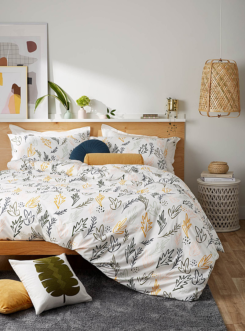 Drawn foliage duvet cover set