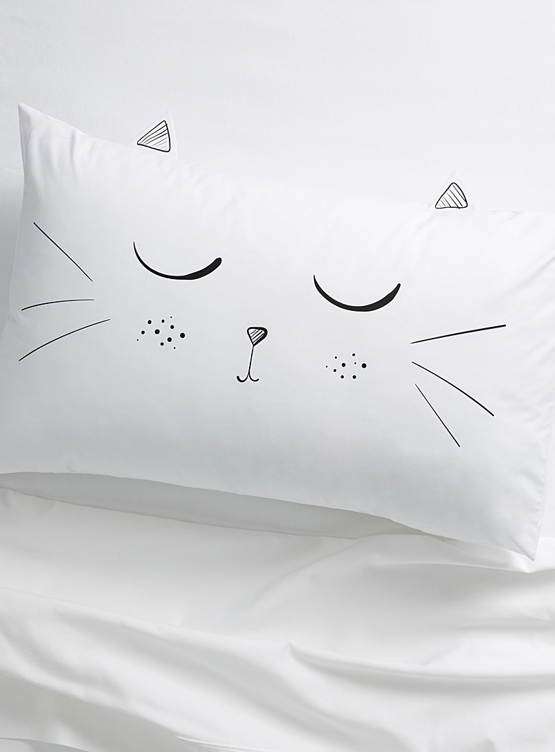 Simons Maison White Kitty cat pillowcase