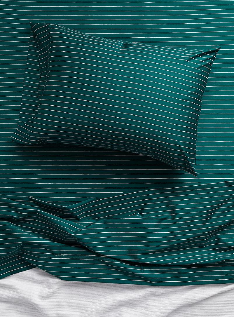 Simons Maison Green Teal organic cotton sheets set with fine stripes Fits mattresses up to 15 in