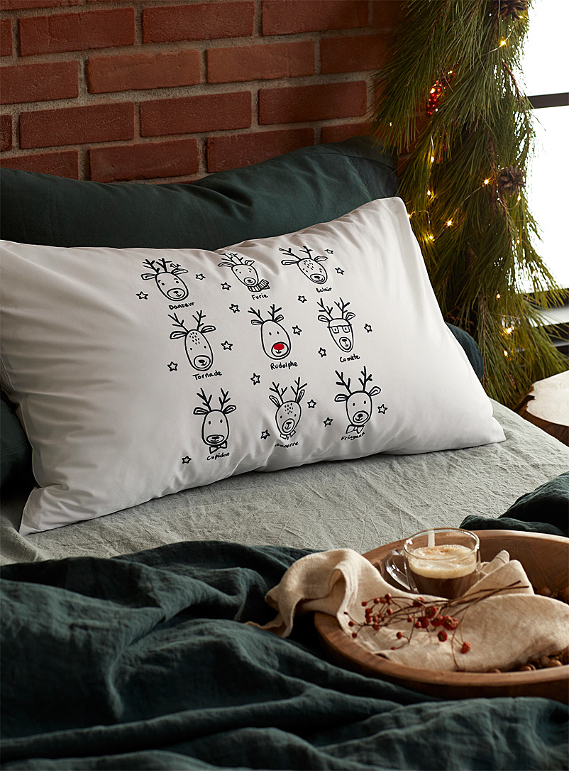 Simons Maison Assorted Santa's reindeer pillowcase