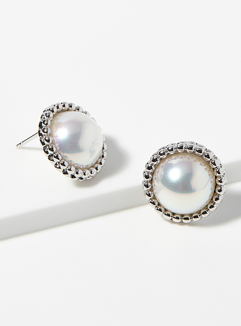 Simons Silver Precious pearl earrings for women