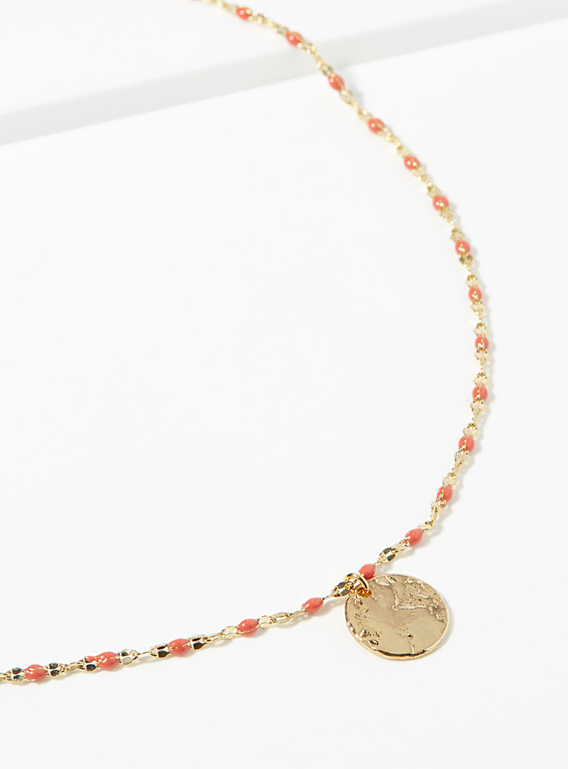 Medallion thin chain necklace - Necklaces - Coral