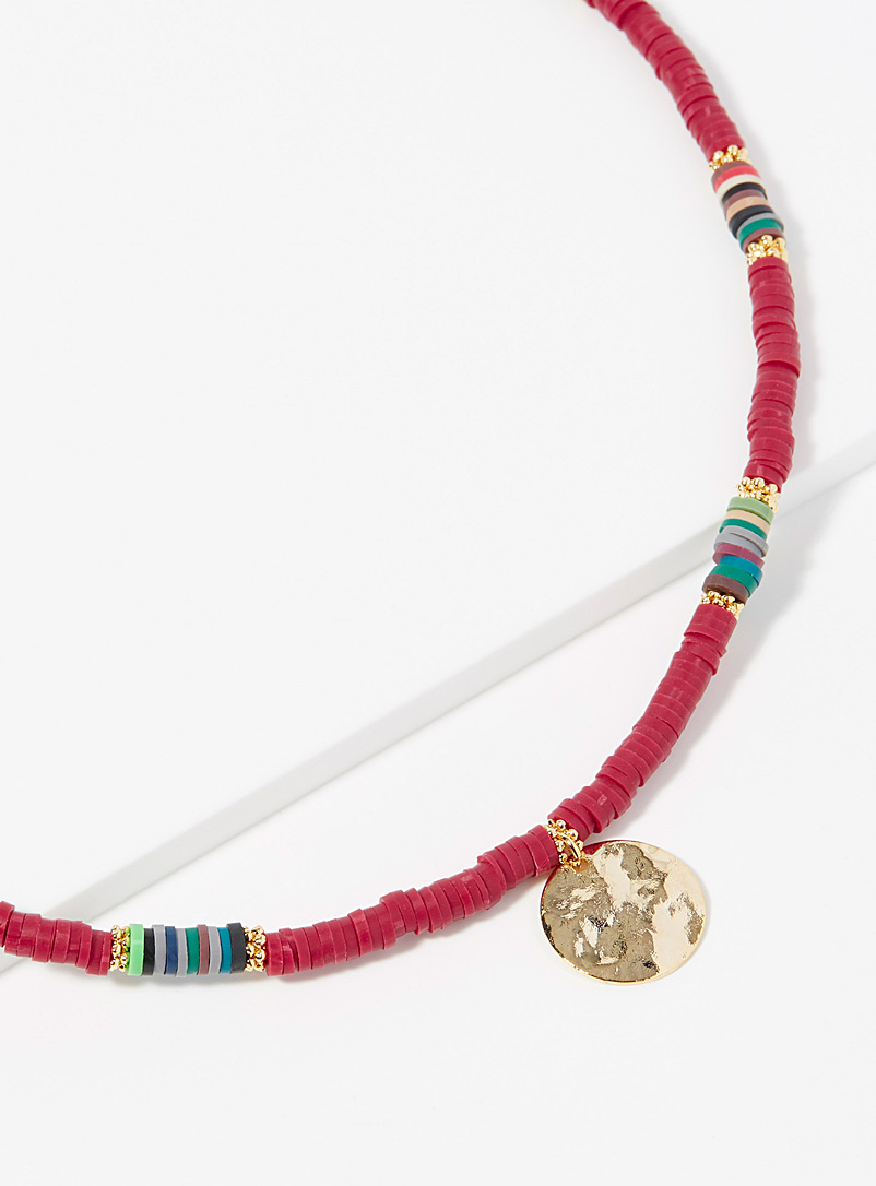 Simons Red Multicoloured bead necklace for women