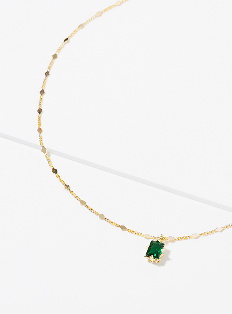 Simons Assorted Deep green stone necklace for women