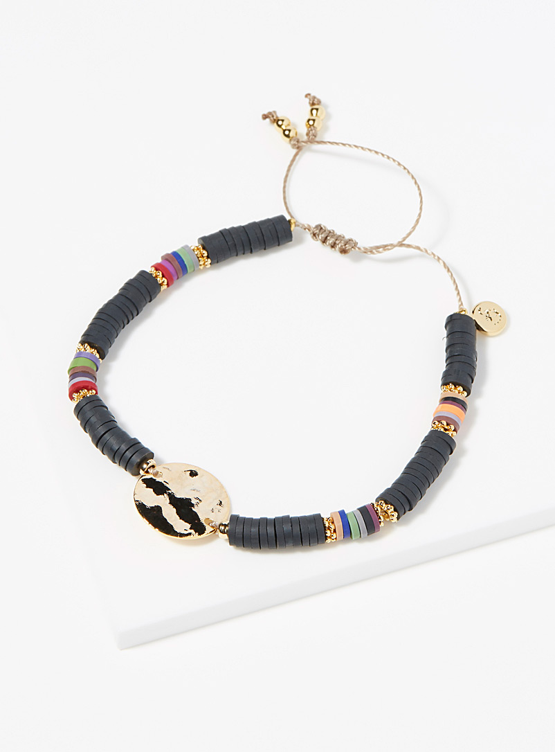 Simons Black Multicoloured bead bracelet for women