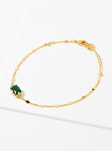 Simons Assorted Dark green stone bracelet for women