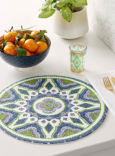 Colourful bas-relief braided placemat