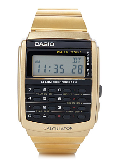 Golden retro calculator watch
