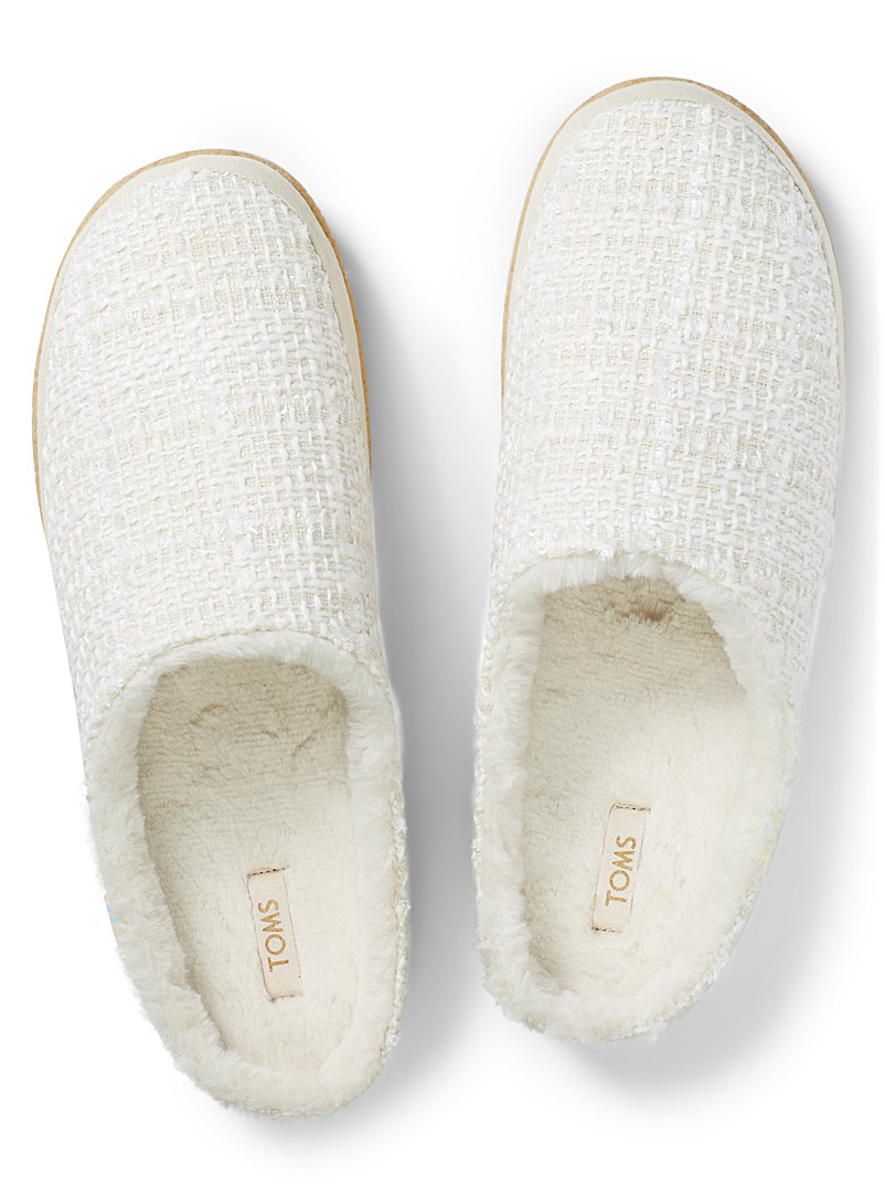 Toms White Shimmery mule slippers for women