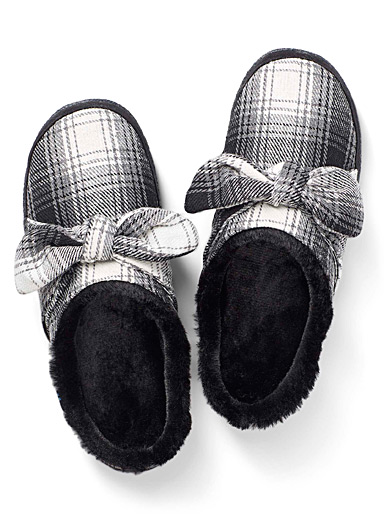 Ivy bow mule slippers