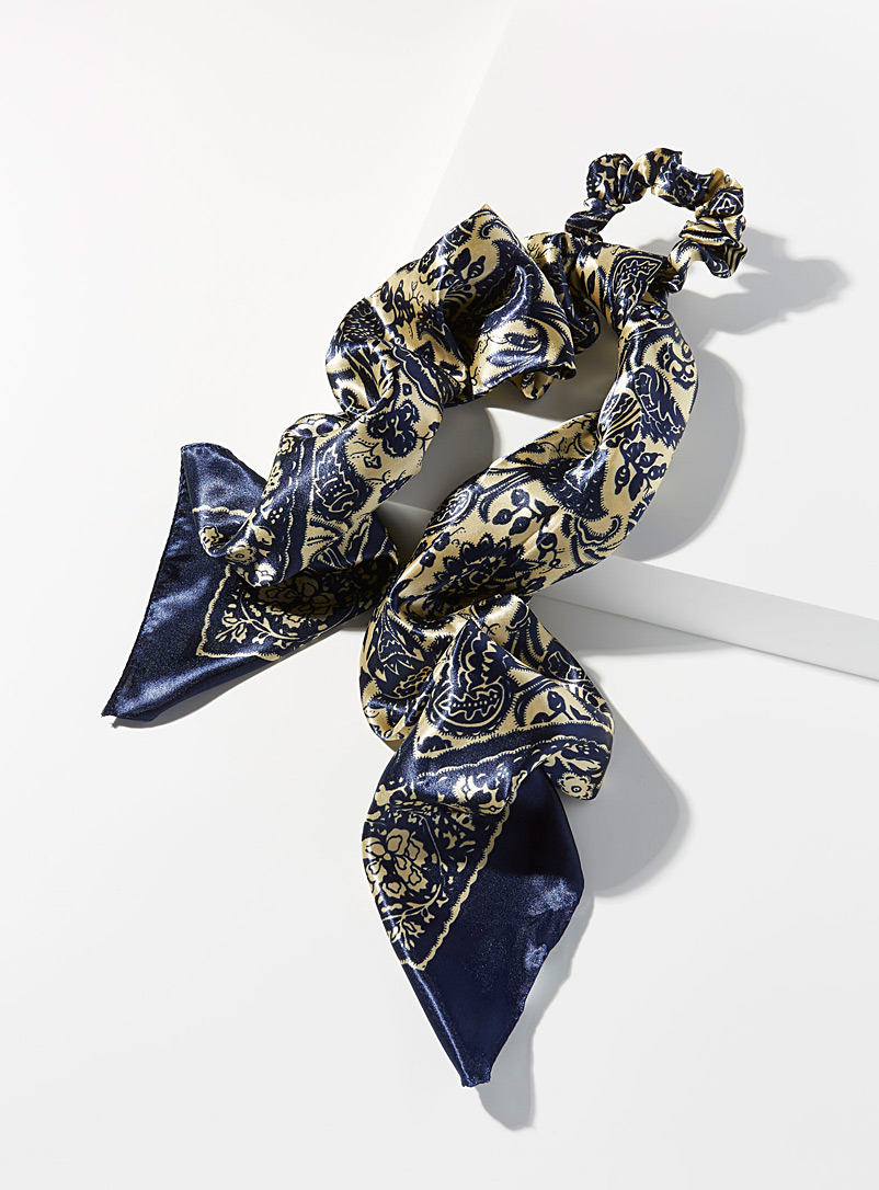 Floral tapestry scarf scrunchie