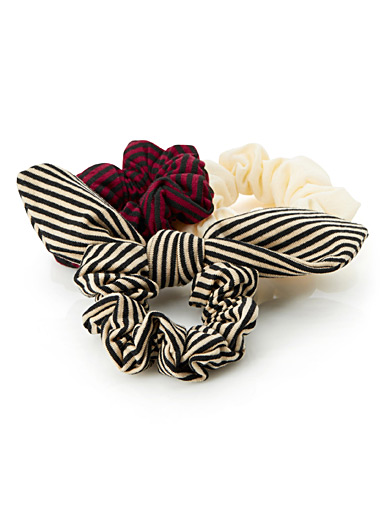 Striped jersey scrunchies <br>Set of 3