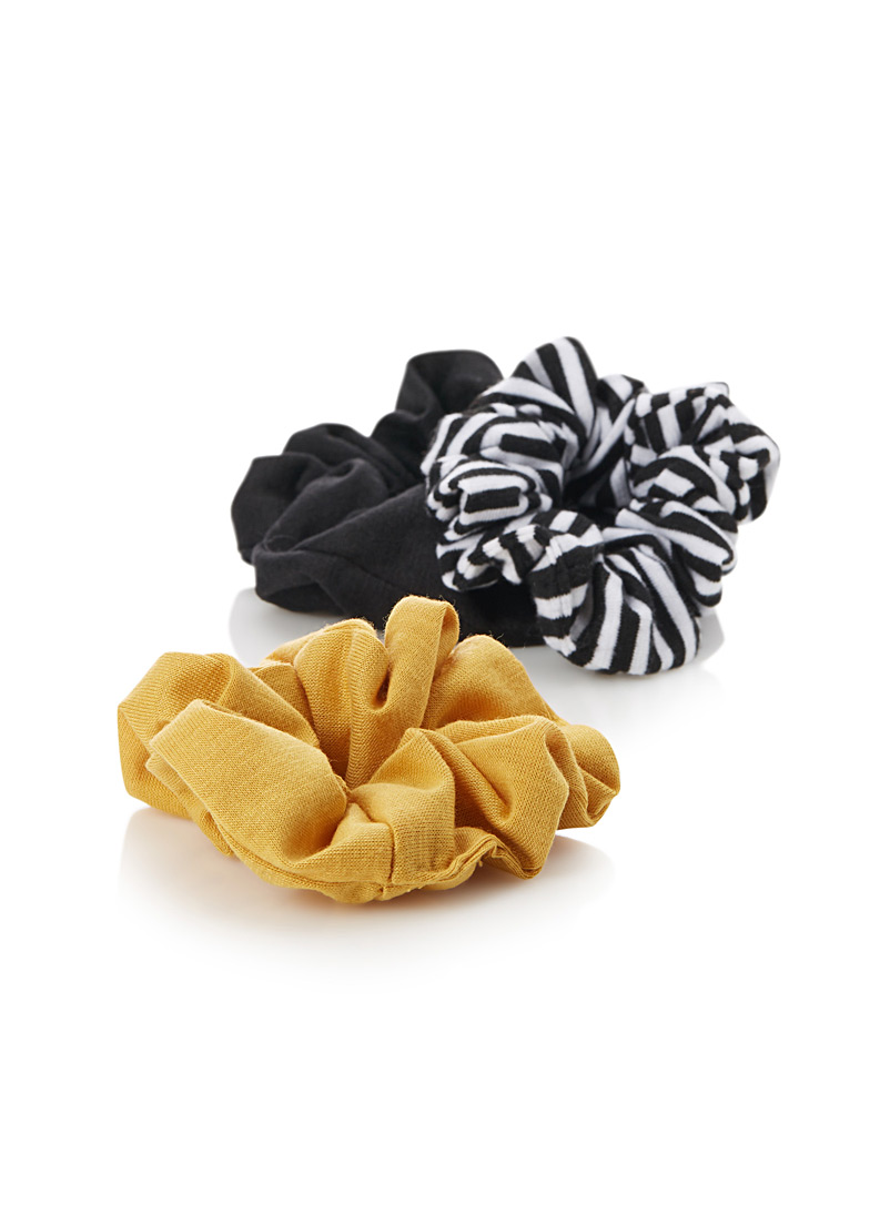 Solid and pattern scrunchies  Set of 3 - Scrunchies - Golden Yellow