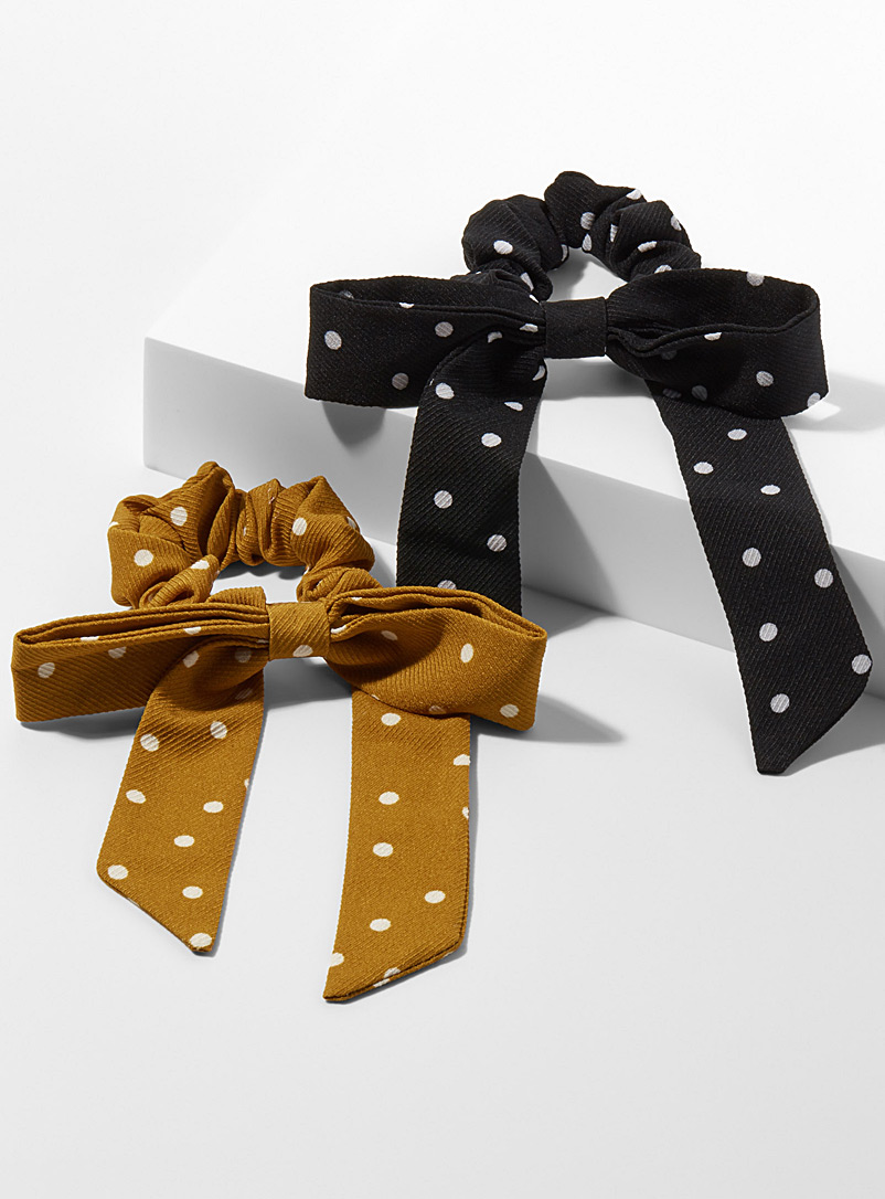 Dotted bow scrunchies  Set of 2 - Scrunchies - Patterned Black