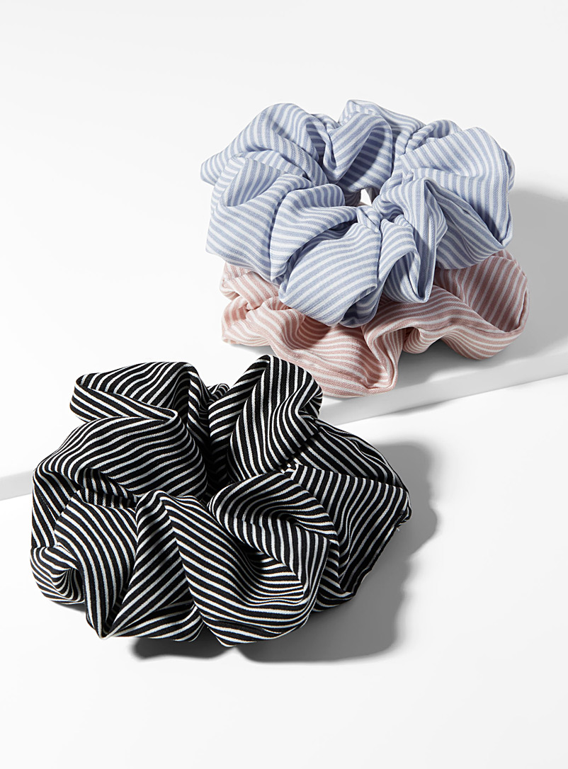 Fine stripe scrunchies  Set of 3 - Scrunchies - Pink