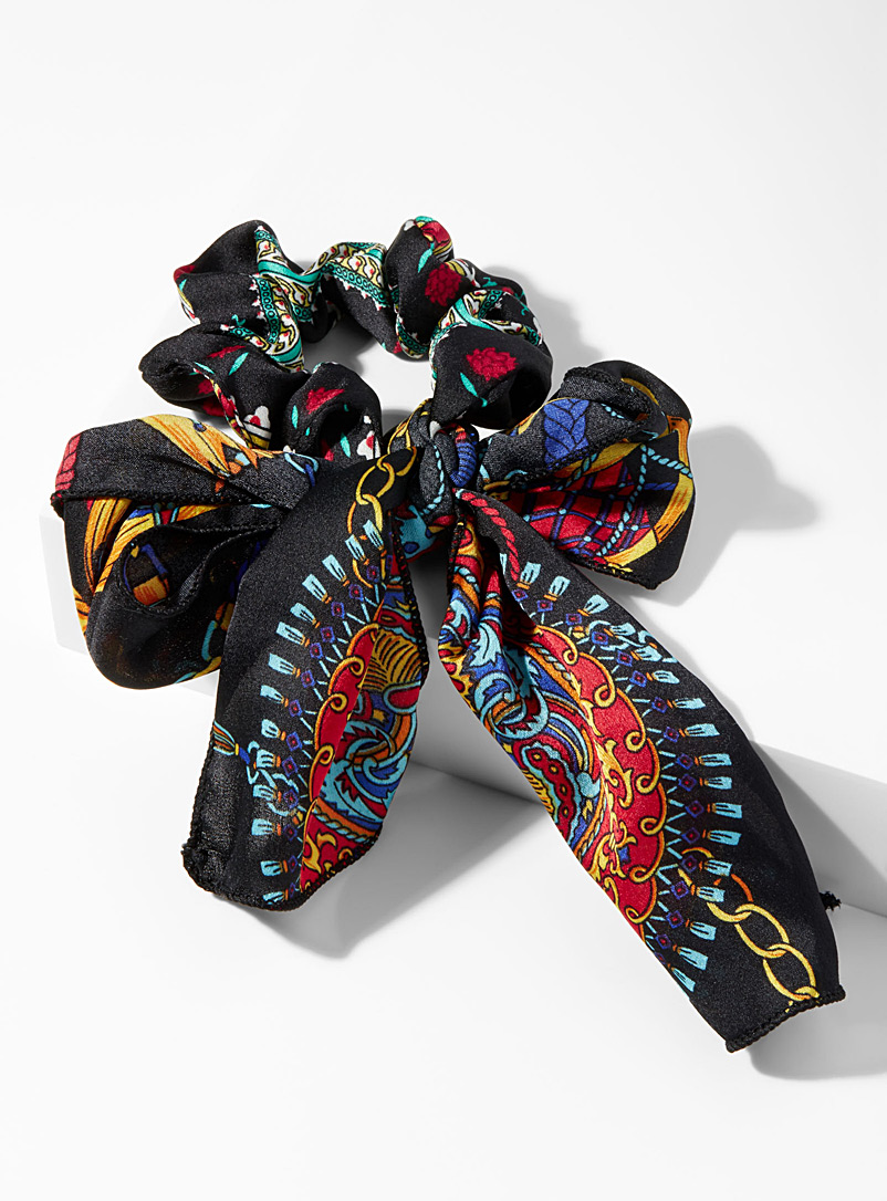 Tie scarf scrunchie - Scrunchies - Patterned Black