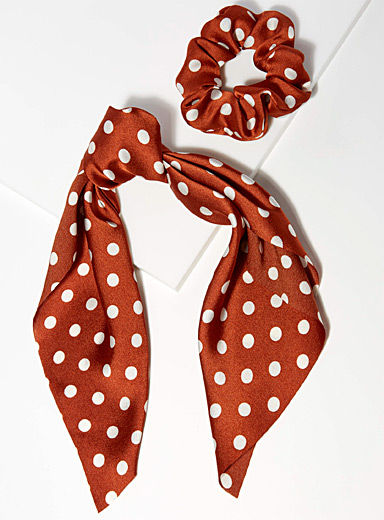 Dotted scarf scrunchie