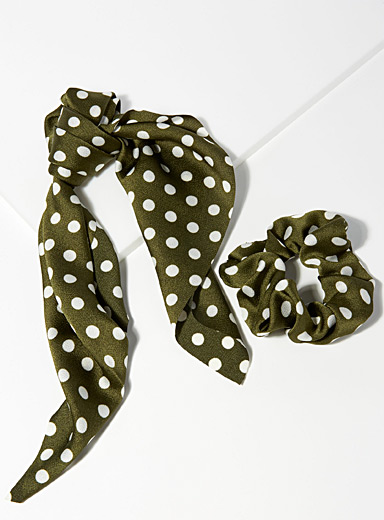 Simons Patterned Green Dotted scarf scrunchie for women