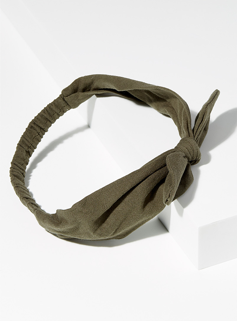 Solid mini-bow headband - Headbands - Khaki