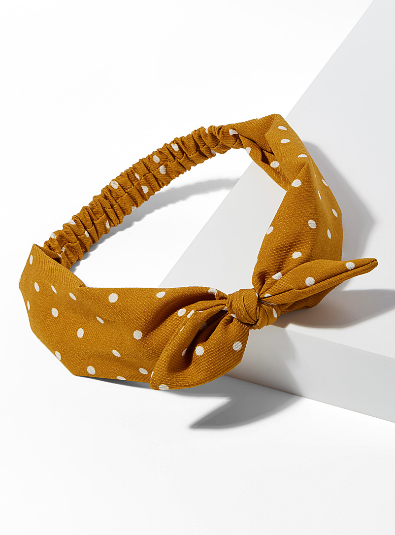 Simons Golden Yellow Polka dot headband for women