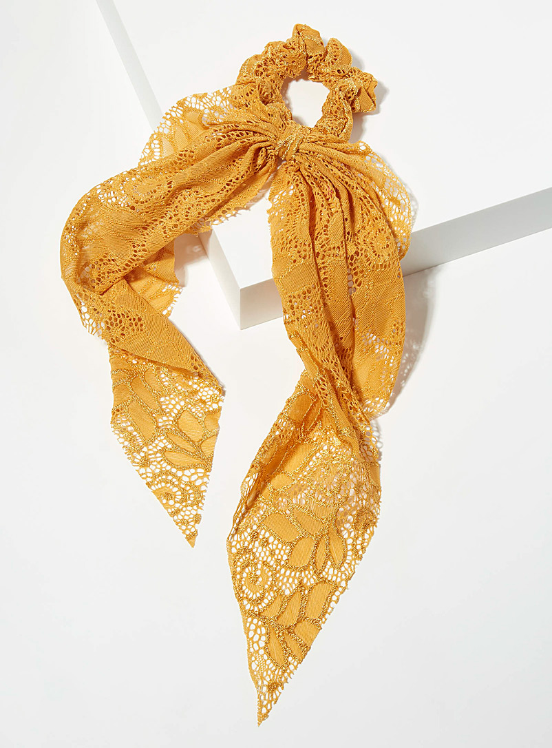 Yellow lace scarf scrunchie