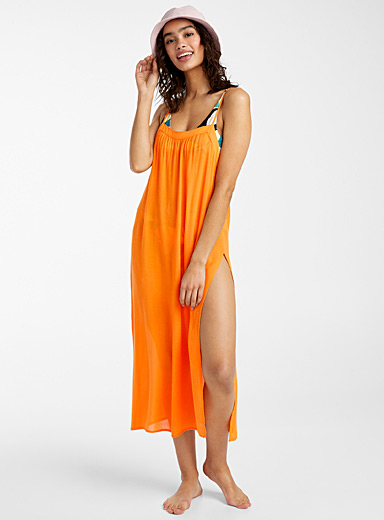 O'Neill Dark Yellow Layna orange split dress for women
