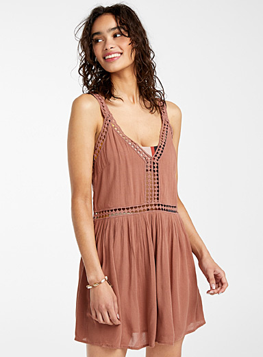 O'Neill Dusky Pink Mari crochet-band dress for women