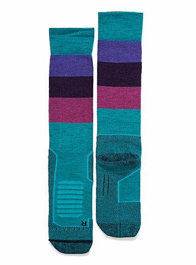 Azure block merino socks