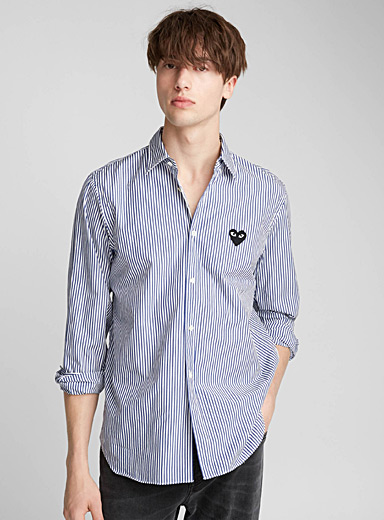 Black heart logo striped shirt