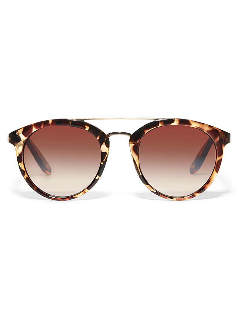 Simons Light Brown Rave round sunglasses for women
